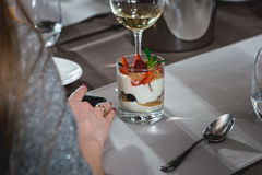 Creamy dessert with strawberry at the food and wine pairing evening the expensive restaurant. close view Royalty Free Stock Photo