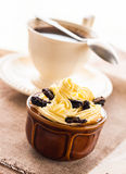 Creamy dessert sweet coffee cup black wooden board Stock Photo