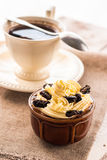 Creamy dessert sweet coffee cup black wooden board Royalty Free Stock Photography