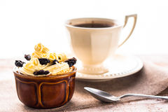 Creamy dessert sweet coffee cup black wooden board Stock Images