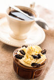 Creamy dessert sweet coffee cup black wooden board Royalty Free Stock Photos