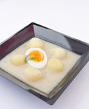 Creamy dill sauce with boiled egg and chateau potatoes. Stock Photography