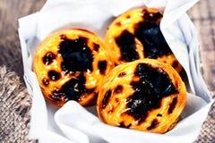 Creamy egg tart with  sweet curstard, black crust and sugar powd Royalty Free Stock Photos