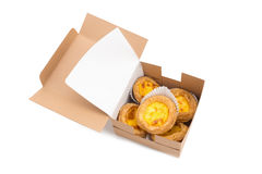 creamy egg tart with sweet curstard in a box isolated on white b Stock Images