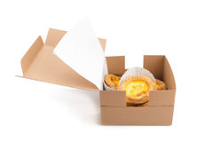 creamy egg tart with sweet curstard in a box  on white b Stock Photography