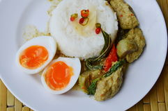 Creamy egg yolk and spicy fish ball green curry on rice. Creamy egg yolk and spicy fish ball green curry on plain rice Stock Photos