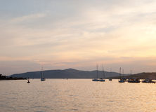 Creamy evening. A harbor with yachts. Evening lanscape, creamy and peaceful Stock Images