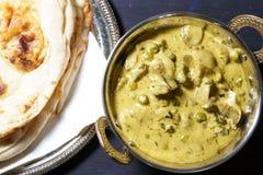 Creamy Fenugreek Mushroom peas curry stock image