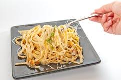 Creamy fettuchini pasta Royalty Free Stock Photo