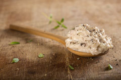 Creamy fish pate in spoon Stock Photos