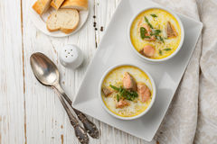 Creamy fish soup with salmon. Potatoes, onions and carrots. Kalakeitto. Traditional dish of the Finnish cuisine Stock Photography