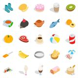 Creamy food icons set, isometric style. Creamy food icons set. Isometric set of 25 creamy food vector icons for web isolated on white background Royalty Free Stock Photos