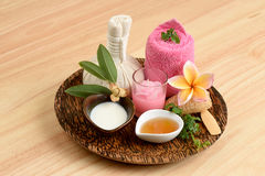 Creamy Fresh Herb Mask with fresh milk, Ivy Gourd and honey, spa with natural ingredients of Thailand. Stock Images