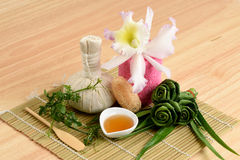 Creamy Fresh Herb Mask - Wrap Pandanus. Palm, Ivy Gourd and honey, spa with natural ingredients of Thailand. Stock Images