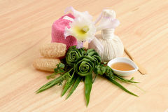 Creamy Fresh Herb Mask - Wrap Pandanus. Palm, Ivy Gourd and honey, spa with natural ingredients of Thailand. Stock Image