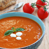 Creamy Fresh Tomato Soup. A bowl of this creamy tomato soup will keep you warm and definitely satisfy your taste buds Royalty Free Stock Image