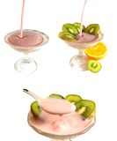 Creamy fruit yogurt. 3 images of yogurt - pouring, decorating and eating Royalty Free Stock Photo