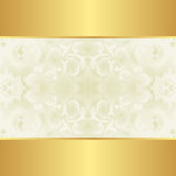 Creamy and gold  background. With floral ornaments Royalty Free Stock Photography
