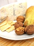 Creamy gorgonzola cheese, nuts, biscuits and pear Royalty Free Stock Photo