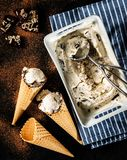 Creamy ice cream with chocolate crumbs in a waffle cone Stock Photography