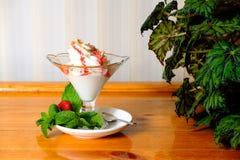 Creamy ice cream in a sundae dish Stock Photo