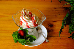 Creamy ice cream in a sundae dish, top view Stock Image