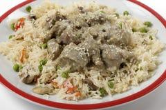 Creamy lamb korma and rice closeup Stock Images