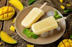 Creamy mango ice cream with fresh mangoes and ices Stock Photos