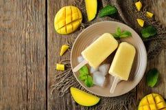 Creamy mango ice cream with fresh mangoes and ices Royalty Free Stock Photos