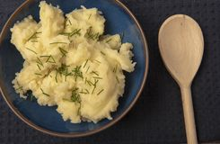 Creamy mash potato and chives royalty free stock photo