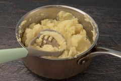 Creamy mashed potato in saucepan stock photography