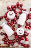 Creamy milk shake with cherries Stock Photography