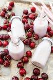 Creamy milk shake with cherries Royalty Free Stock Image