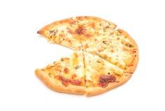 Creamy mushroom pizza. Isolated on white background Royalty Free Stock Photography
