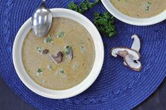 Creamy Mushroom Soup. Homemade creamy mushroom soup, top view Stock Photo