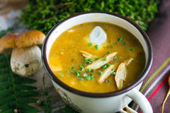 Creamy Mushroom Soup. On old wooden background Stock Photography