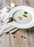 Creamy mushroom soup with pieces of mushrooms in. Delicious creamy mushroom soup with some pieces of mushrooms in it, old spoon and napkin royalty free stock photos