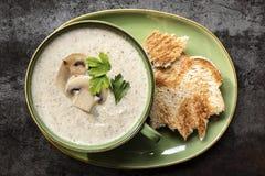 Creamy Mushroom Soup Top View on Slate. Creamy mushroom soup. Top view on slate, with toast royalty free stock photos