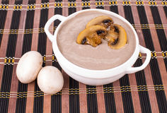 Creamy mushroom soup and two eggs. Royalty Free Stock Image