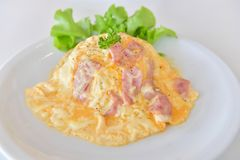 Creamy Omelet with Bacon on Rice Stock Images