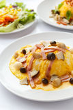 Creamy omelet with ham and mushroom. Royalty Free Stock Images