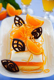 Creamy orange jelly with tangerines Royalty Free Stock Images