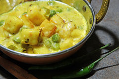 Creamy paneer. Paneer cheese and green peas cooked in a Creamy sauce, an Indian curry goes well with chapati and rice with copy space Stock Image