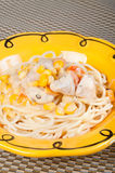 Creamy pasta with chicken, fresh tomatoes and corn Royalty Free Stock Image
