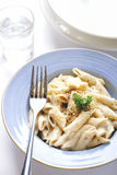 Creamy pasta penne. Penne pasta cream sauce and cheese Royalty Free Stock Photo