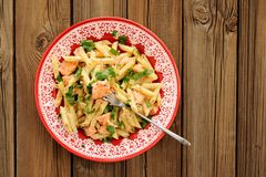 Creamy pasta with salmon and parsley in red plate, copyspace Royalty Free Stock Photo