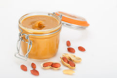 Creamy peanut butter with nuts Royalty Free Stock Photos