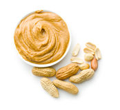 Creamy peanut butter and peanuts Stock Image