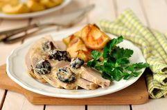 Creamy Prune and Pork Pot Roast with Apples Royalty Free Stock Photography