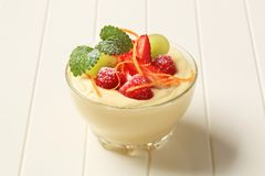 Creamy pudding with fresh fruit Stock Photos